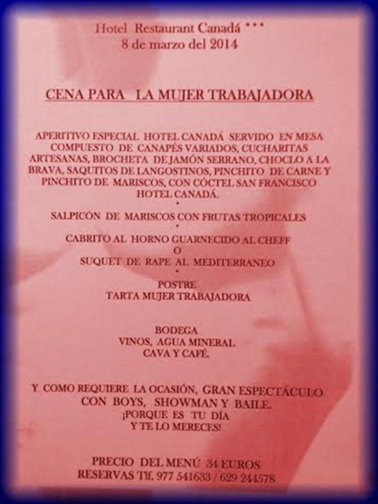 menú dona treballadora despedidas tarragona 2014